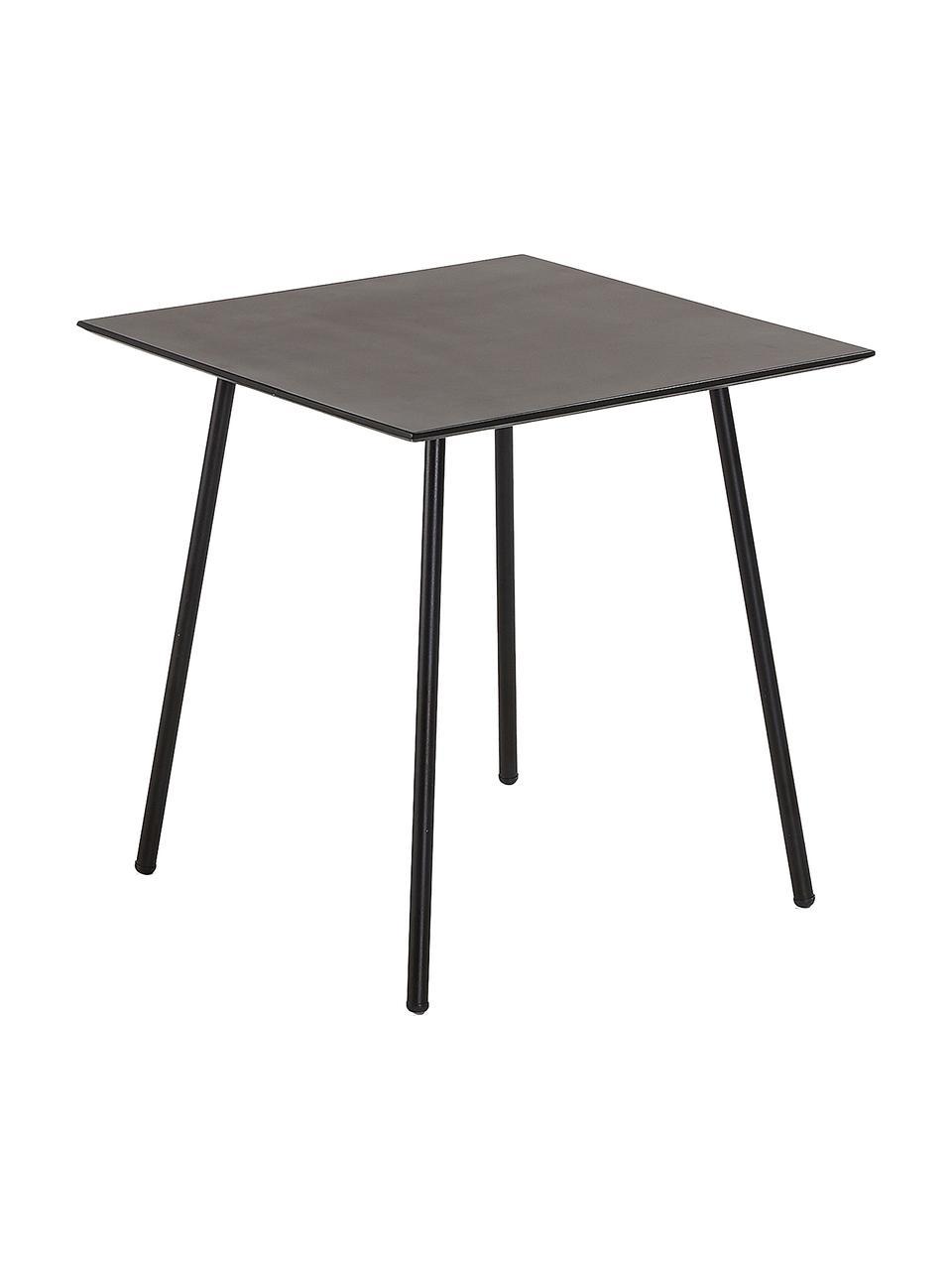 Kleiner Metall-Esstisch Mathis in Schwarz, Tischplatte: Verzinkte Stahl- und Zeme, Beine: Metall, Pulverbeschichtet, Schwarz, 75 x 75 cm