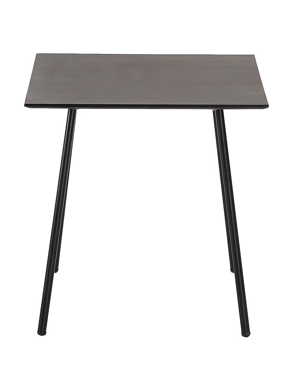 Balkontafel Mathis van metaal in zwart, Tafelblad: gepoedercoat verzinkt sta, Poten: gepoedercoat metaal, Zwart, 75 x 75 cm