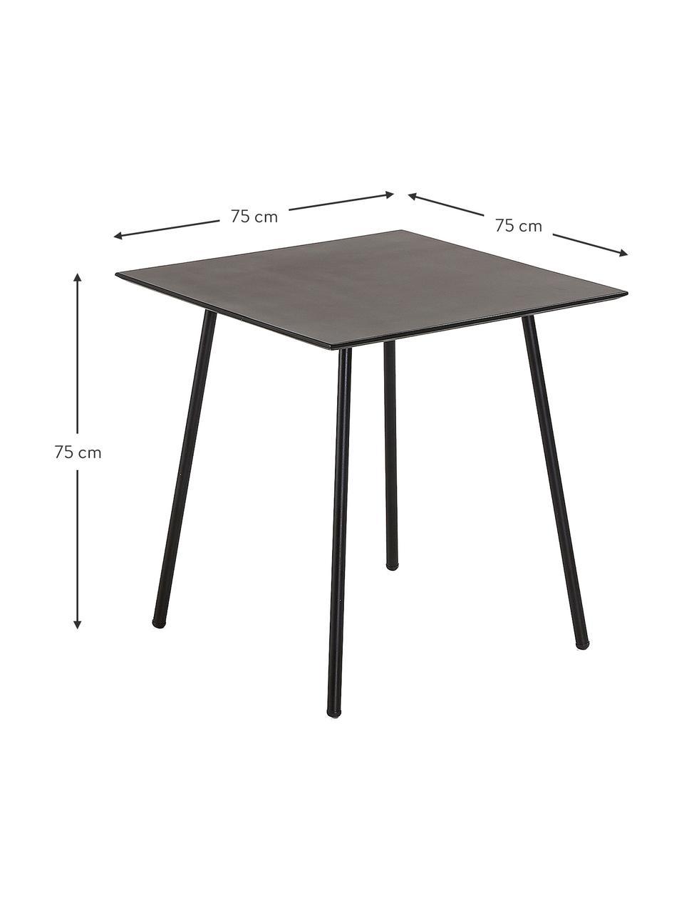 Kleine metalen eettafel Mathis in zwart, Tafelblad: gepoedercoat verzinkt sta, Poten: gepoedercoat metaal, Zwart, 75 x 75 cm