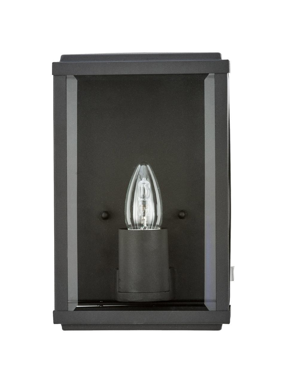 Kinkiet zewnętrzny ze szklanym kloszem Wally, Czarny, transparentny, S 16 x W 25 cm