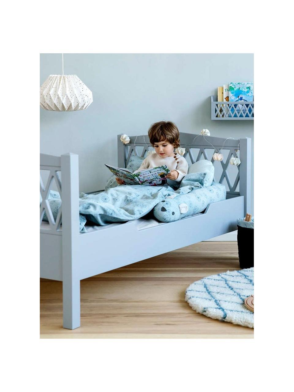 Holz-Kinderbett Harlequin, Kiefernholz, Mitteldichte Holzfaserplatte (MDF), lackiert mit VOC-freier Farbe, Grau, 100 x 170 cm
