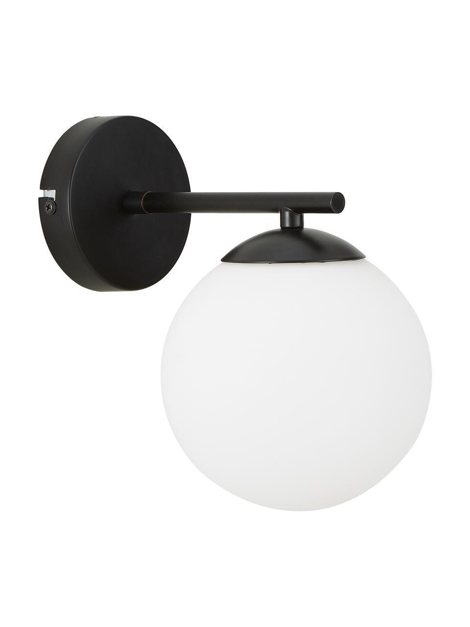 Applique in vetro opale Liv, Paralume: vetro, Struttura: metallo verniciato a polv, Bianco, nero, Larg. 15 x Alt. 22 cm