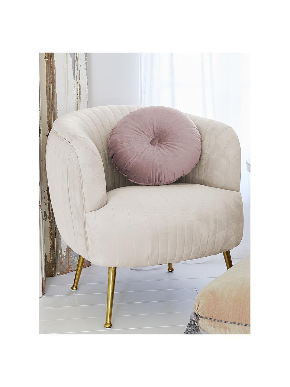 Poduszka z aksamitu z wypełnieniem Monet, Tapicerka: 100% aksamit poliestrowy, Brudny różowy, Ø 40 cm