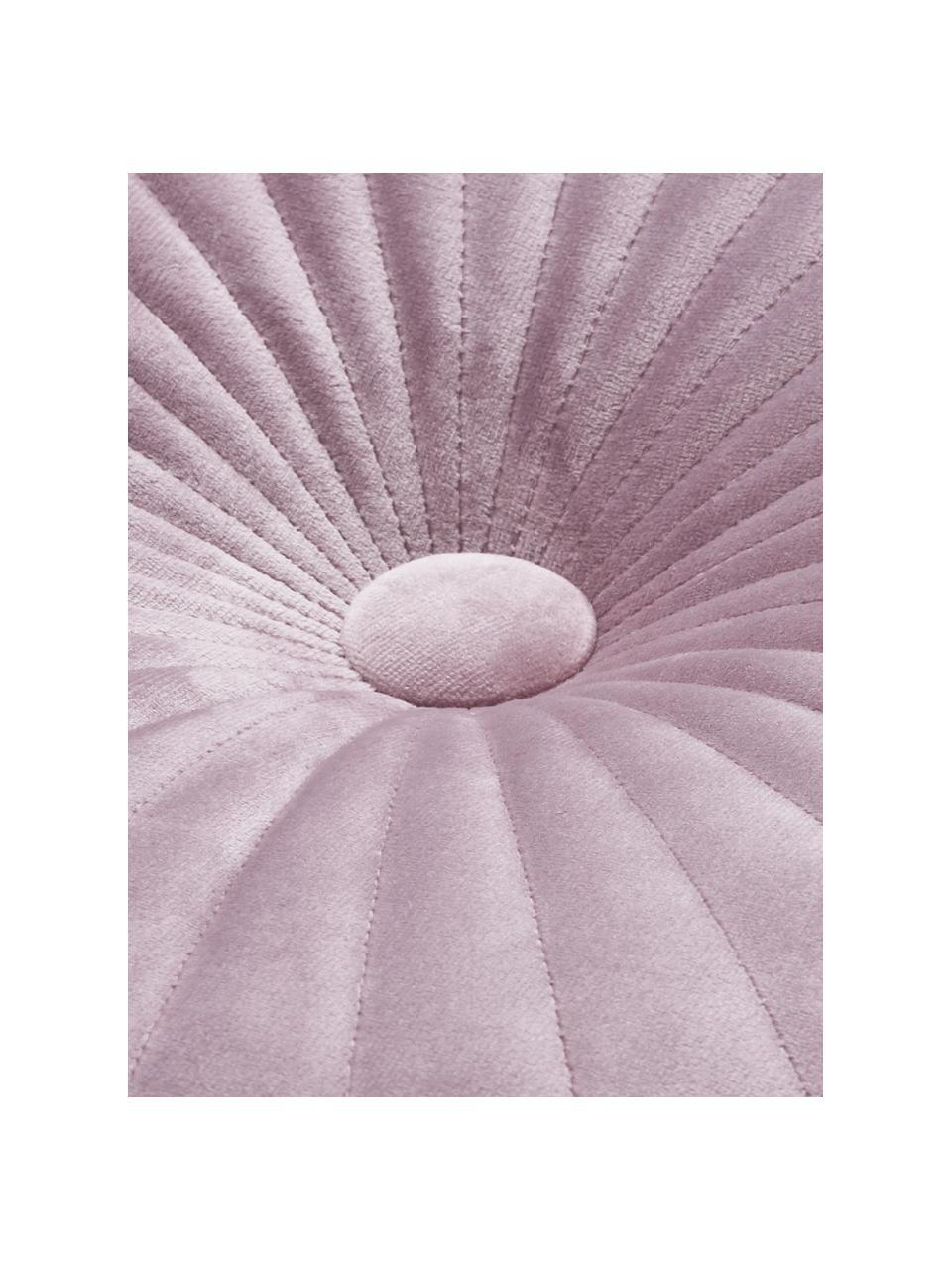 Cuscino in velluto effetto lucido con imbottitura Monet, Rivestimento: 100% velluto di poliester, Rosa cipria, Ø 40