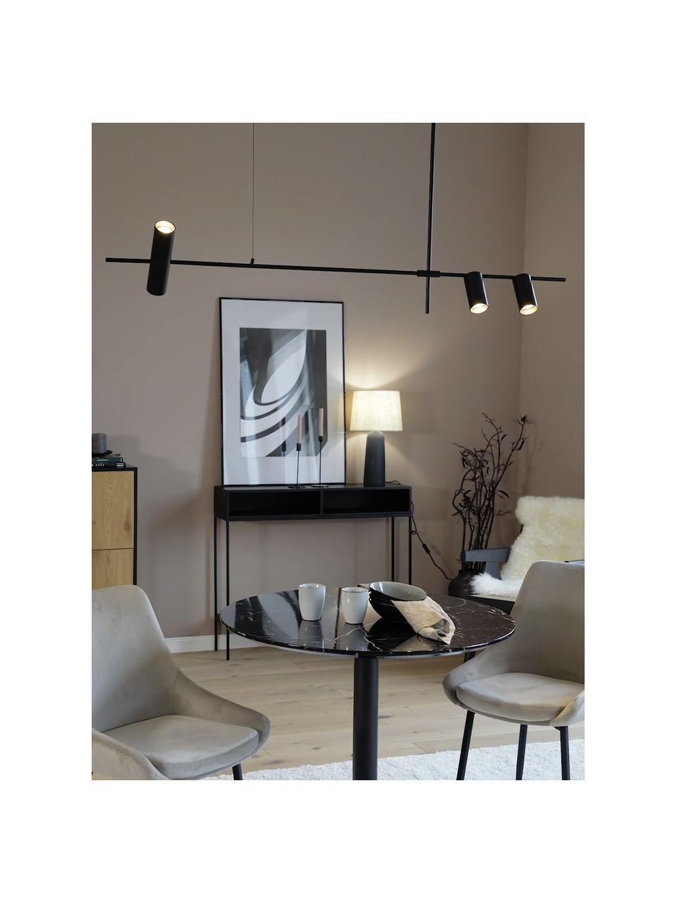 Große Moderne Pendelleuchte Cassandra, Lampenschirm: Metall, pulverbeschichtet, Baldachin: Metall, pulverbeschichtet, Schwarz, matt, 143 x 73 cm