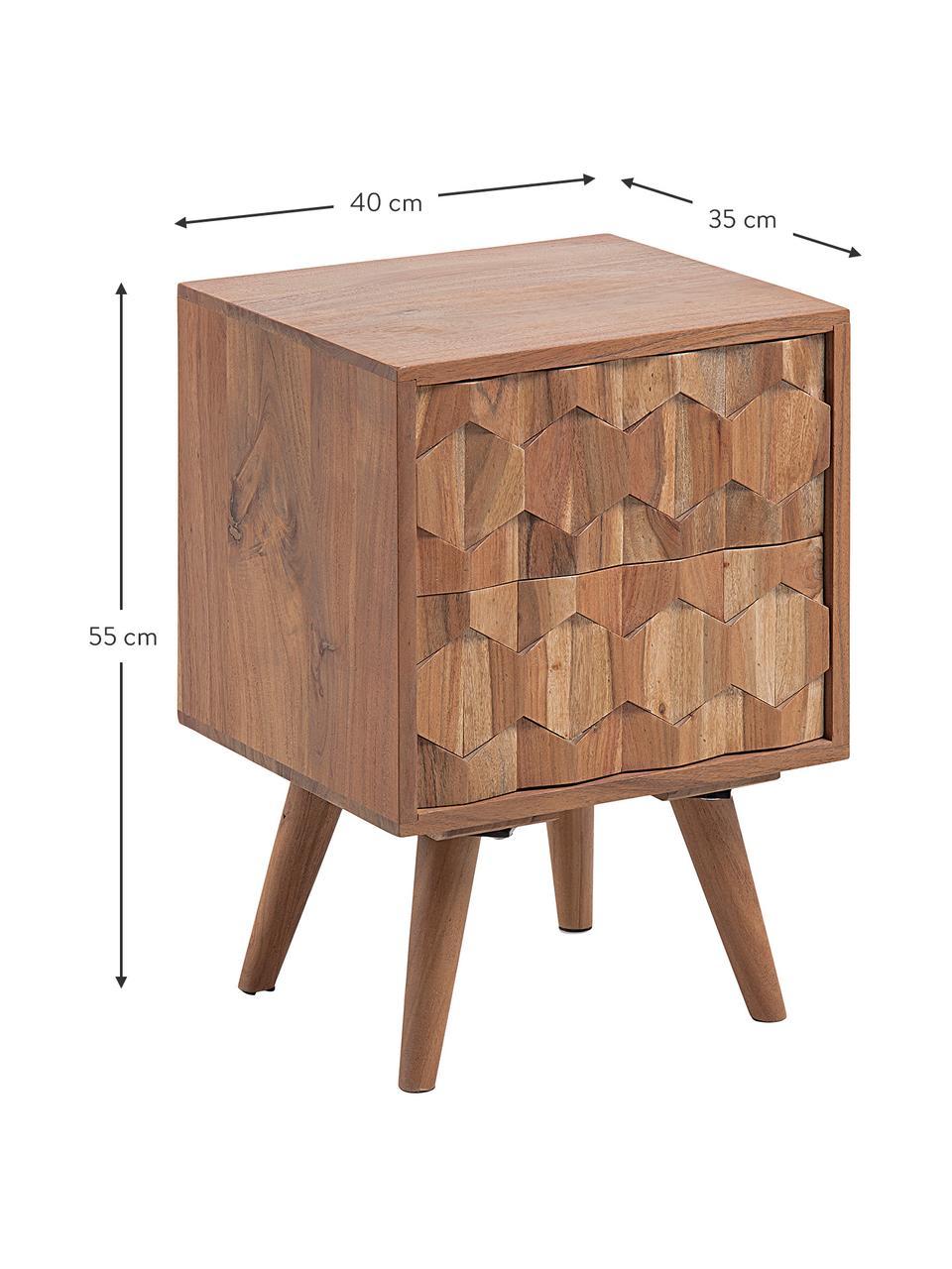 Comodino con cassetto Khaleesi, Legno d'acacia, massiccio, naturale, Legno di acacia, Larg. 40 x Alt. 55 cm