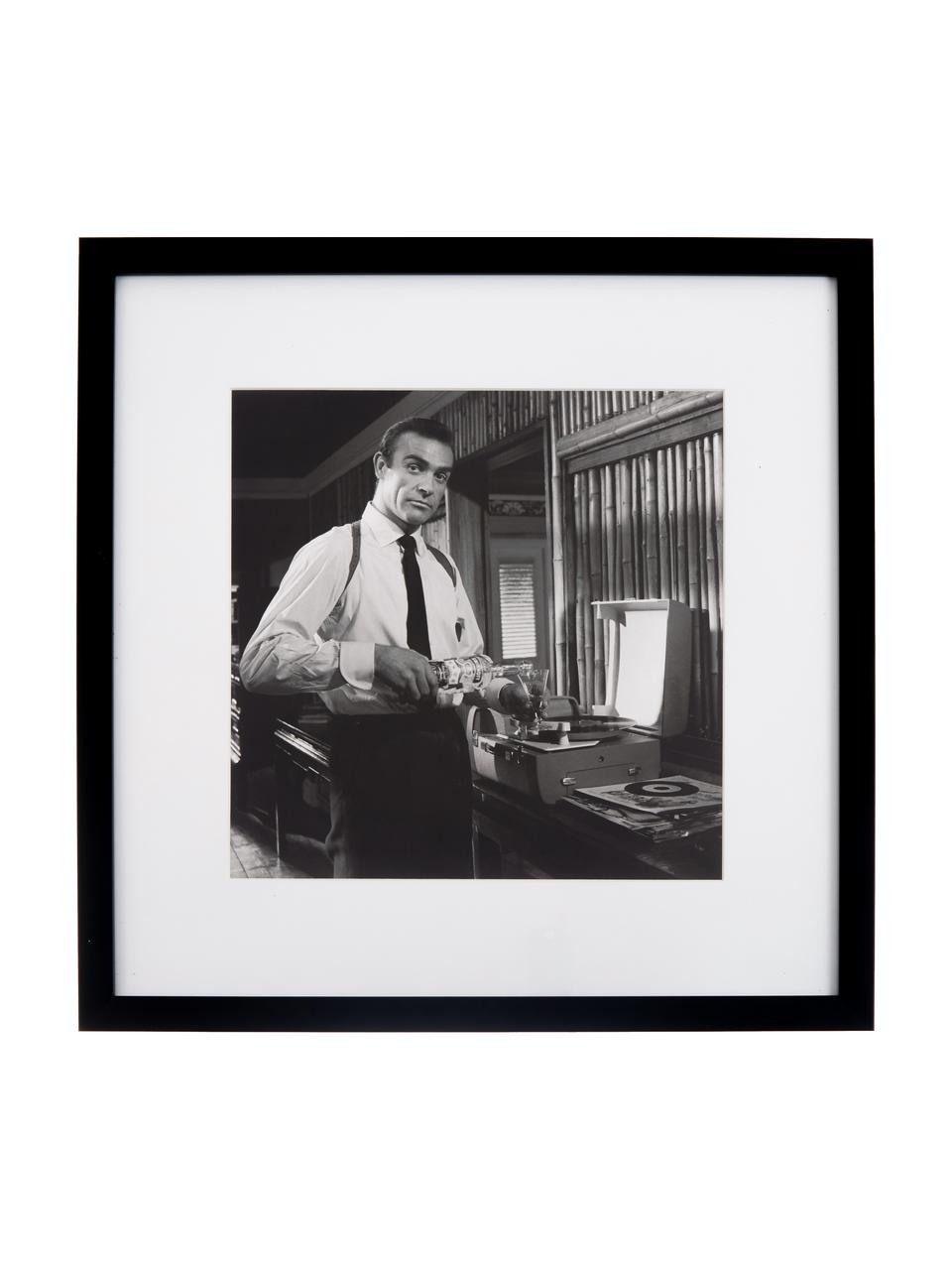 Gerahmter Digitaldruck Connery, Bild: Digitaldruck, Rahmen: Kunststoff, Front: Glas, Bild: Schwarz, Weiß Rahmen: Schwarz, 40 x 40 cm
