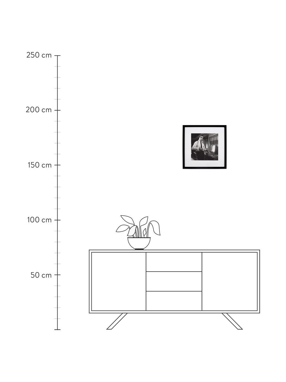 Stampa digitale incorniciata Connery, Immagine: stampa digitale, Cornice: materiale sintetico, Immagine: nero, bianco Cornice: nero, L 40 x A 40 cm