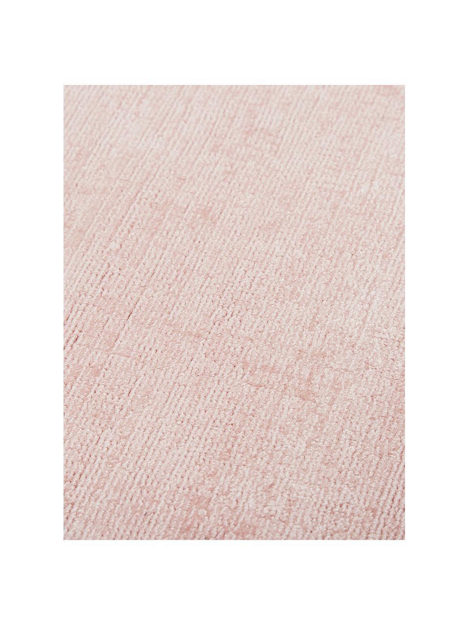 Handgeweven viscose vloerkleed Jane in roze, Bovenzijde: 100% viscose, Onderzijde: 100% katoen, Roze, B 160 x L 230 cm (maat M)