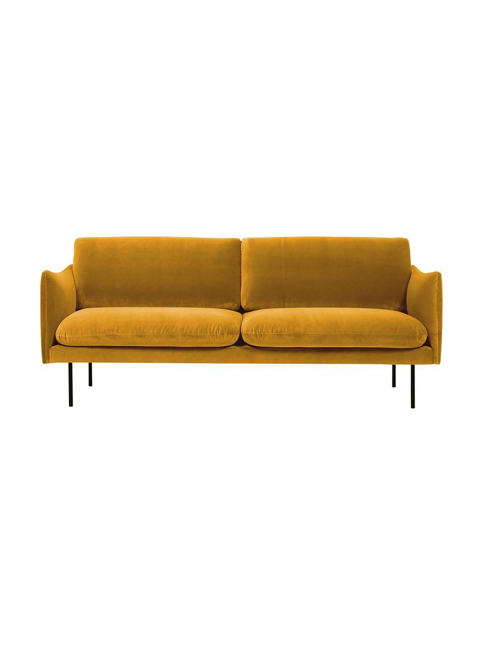 Sofa z aksamitu z metalowymi nogami Moby (2-osobowa), Tapicerka: aksamit (wysokiej jakości, Stelaż: lite drewno sosnowe, Nogi: metal malowany proszkowo, Aksamitny musztardowy, S 170 x G 95 cm
