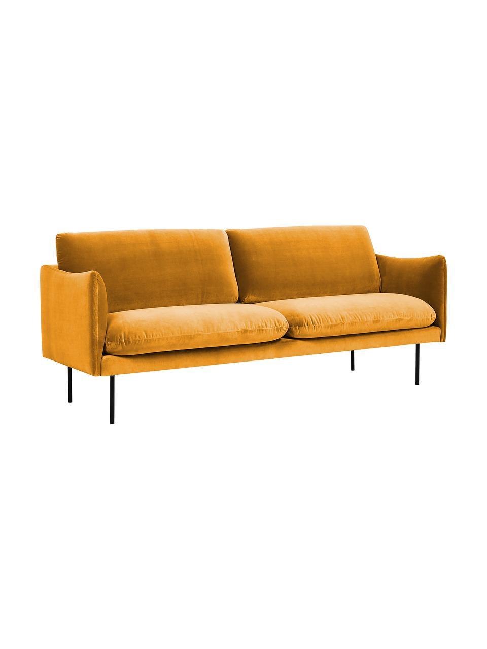 Fluwelen bank Moby (2-zits) in mosterdgeel met metalen poten, Bekleding: fluweel (hoogwaardig poly, Frame: massief grenenhout, Poten: gepoedercoat metaal, Fluweel mosterdgeel, B 170 x D 95 cm