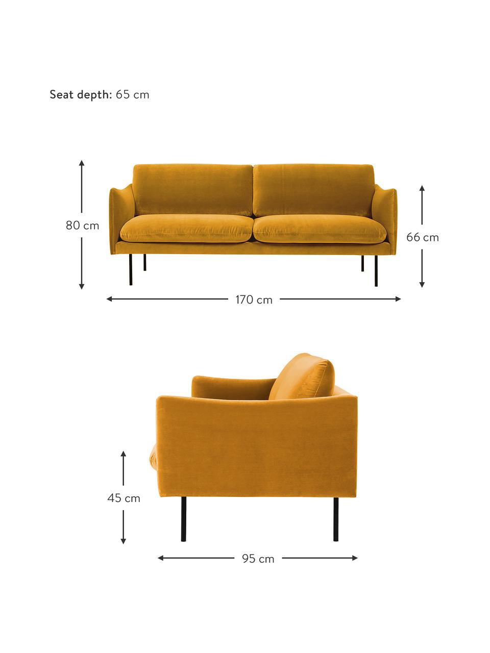 Samt-Sofa Moby (2-Sitzer) in Senfgelb mit Metall-Füßen, Bezug: Samt (Hochwertiger Polyes, Gestell: Massives Kiefernholz, Füße: Metall, pulverbeschichtet, Samt Senfgelb, B 170 x T 95 cm