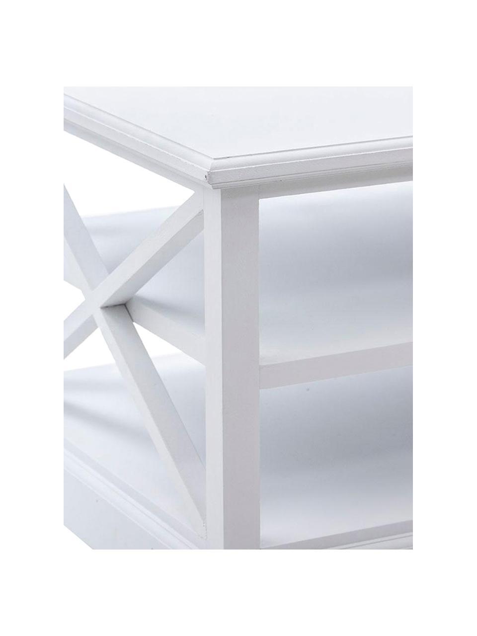 Mesa de centro Combi, Estructura: madera de paulownia, made, Tablero: firbas de densidad media , Blanco, beige, An 120 x Al 51 cm