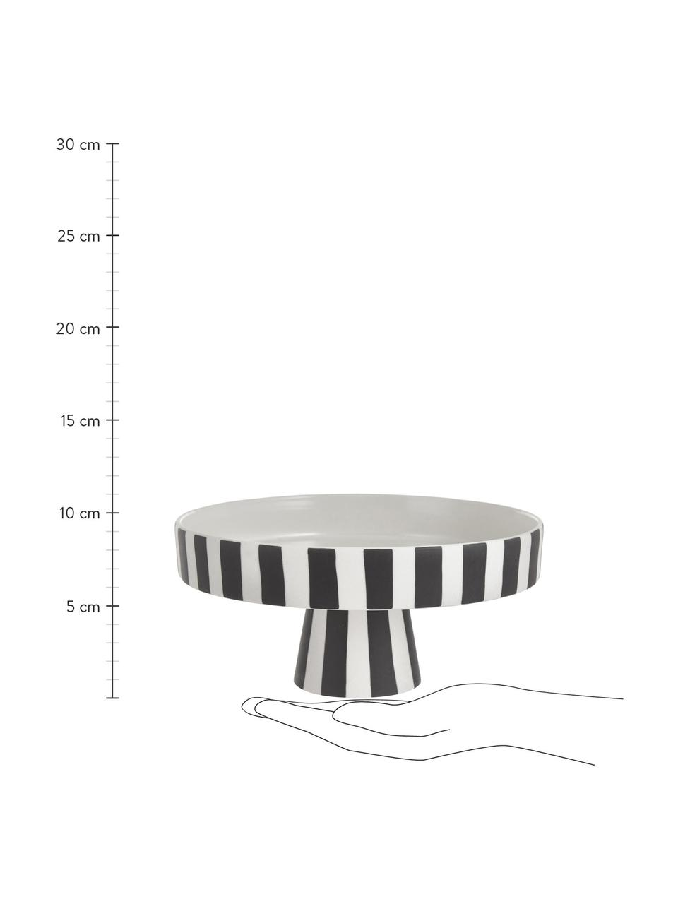 Keramik Servierplatte Toppu im Streifendesign, Ø 20 cm, Keramik, Weiß, Schwarz, Ø 20 x H 9 cm