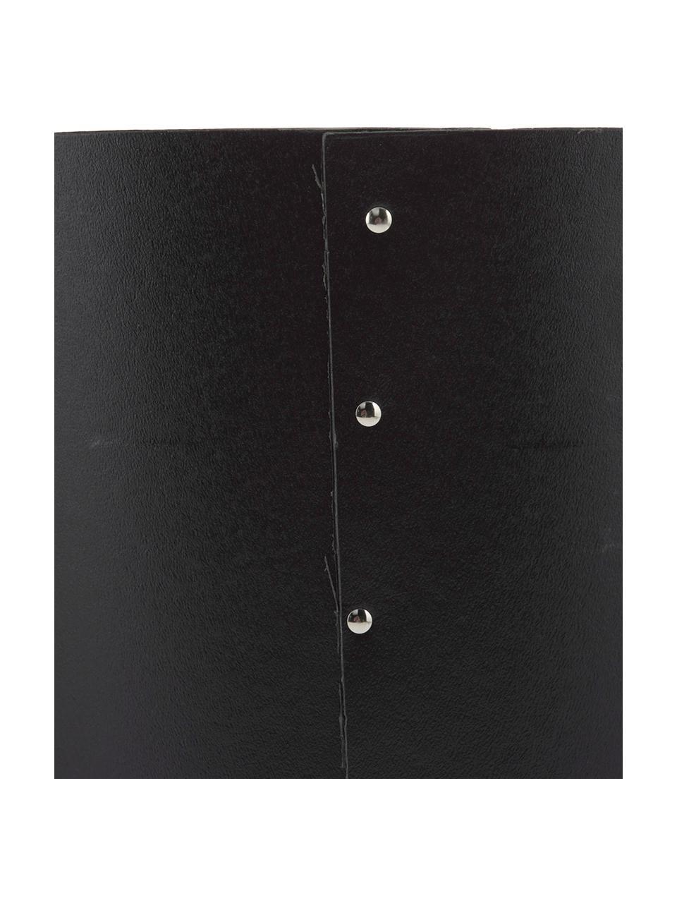 Papierkorb Aries, Fester, laminierter Karton, Schwarz, Silberfarben, Ø 27 x H 35 cm