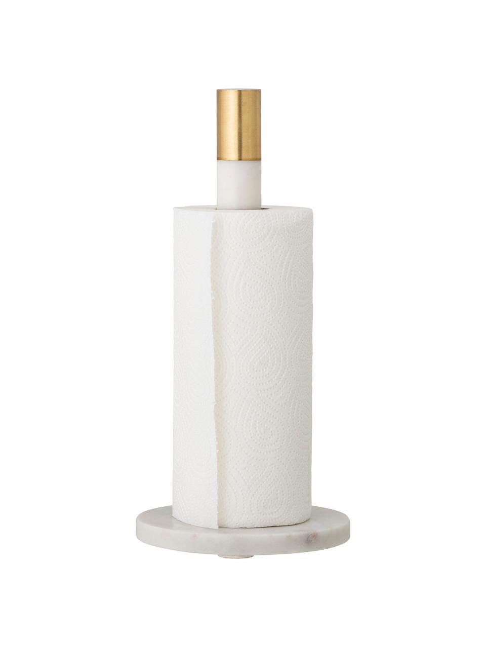 Marmor-Küchenrollenhalter Emira, Dekor: Messing, Weiß, Ø 15 cm