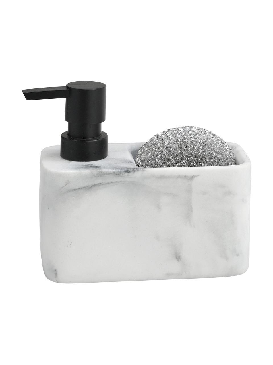 Dozownik do mydła z imitacji marmuru Galia, 2 elem., Biały, marmurowy, odcienie srebrnego, S 15 x W 14 cm