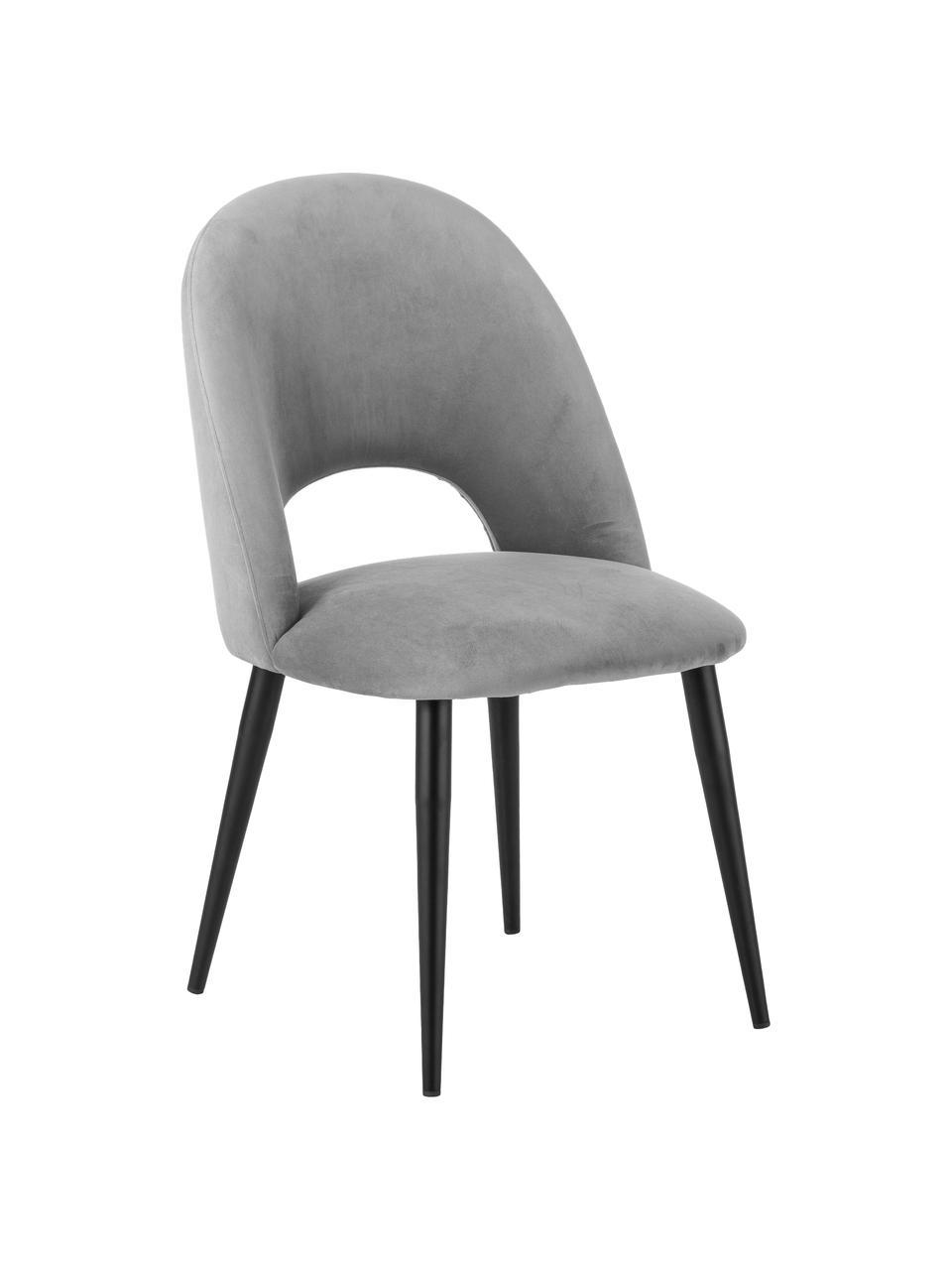 Fluwelen stoel Rachel in grijs, Bekleding: fluweel (hoogwaardig poly, Poten: gepoedercoat metaal, Fluweel grijs, B 53 x D 57 cm