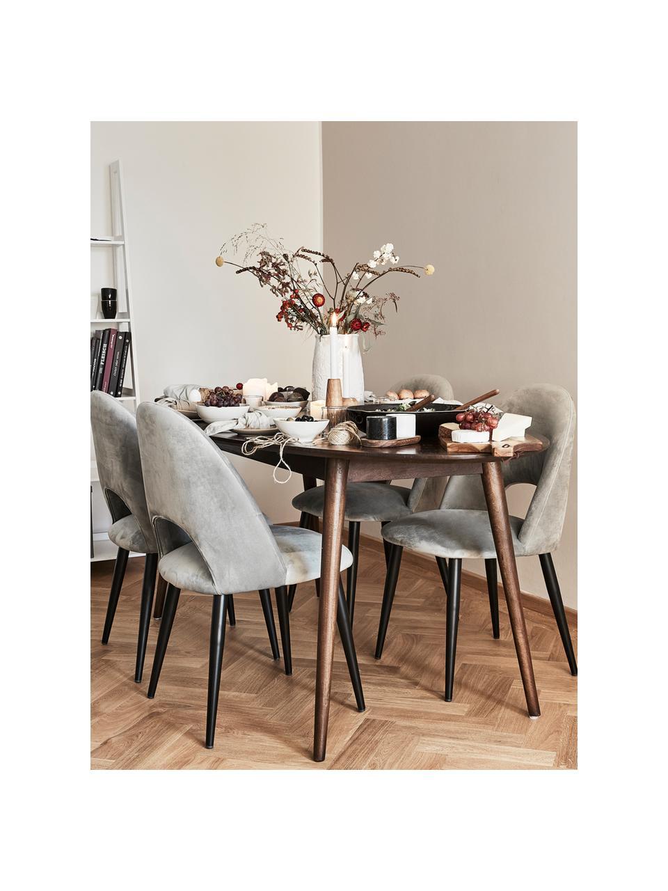 Krzesło tapicerowane z aksamitu Rachel, Tapicerka: aksamit (100% poliestr) D, Nogi: metal malowany proszkowo, Aksamitny szary, S 53 x G 57 cm