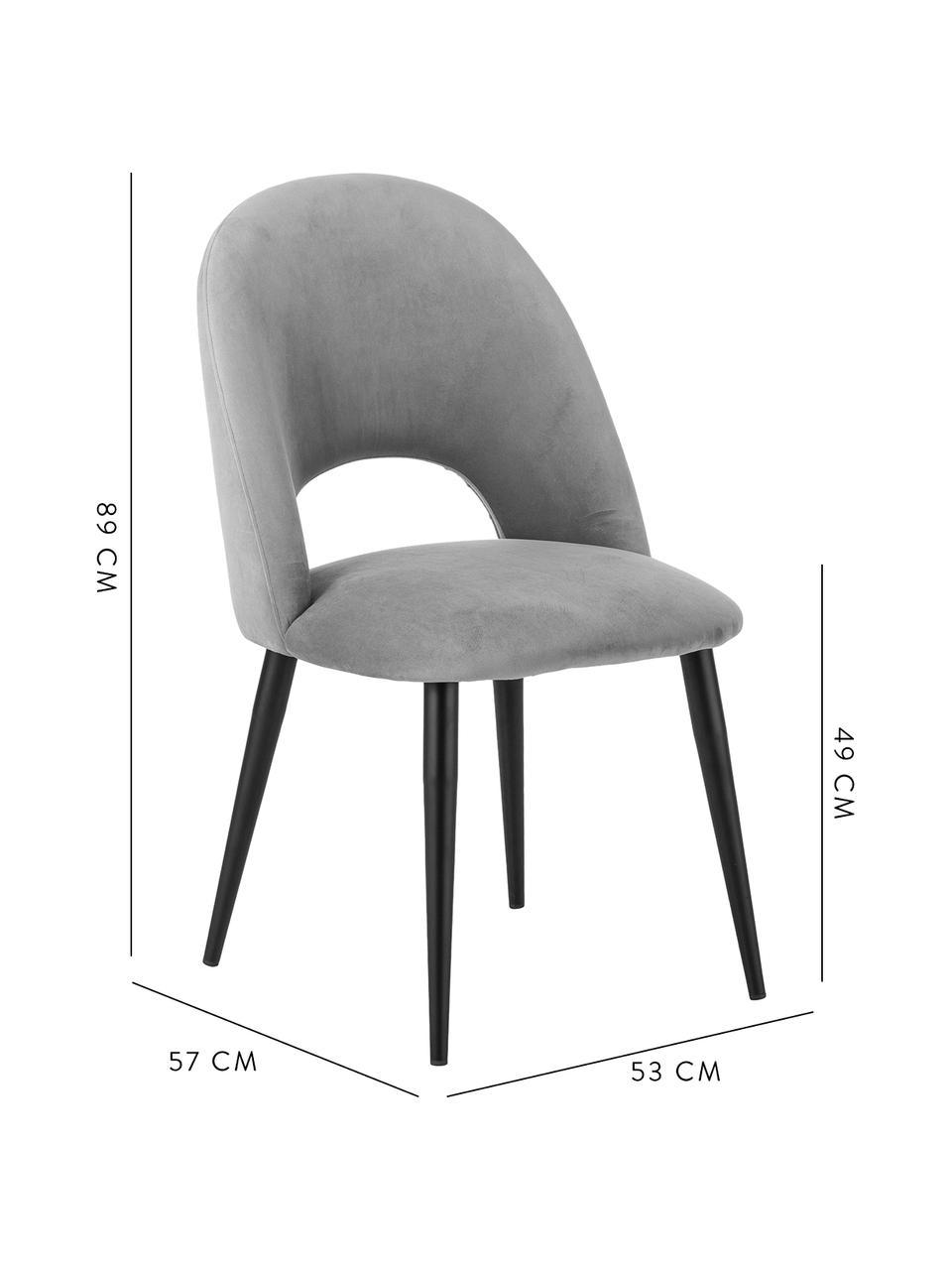 Sedia imbottita in velluto grigio Rachel, Rivestimento: velluto (rivestimento in , Gambe: metallo verniciato a polv, Velluto grigio, Larg. 53 x Prof. 57 cm