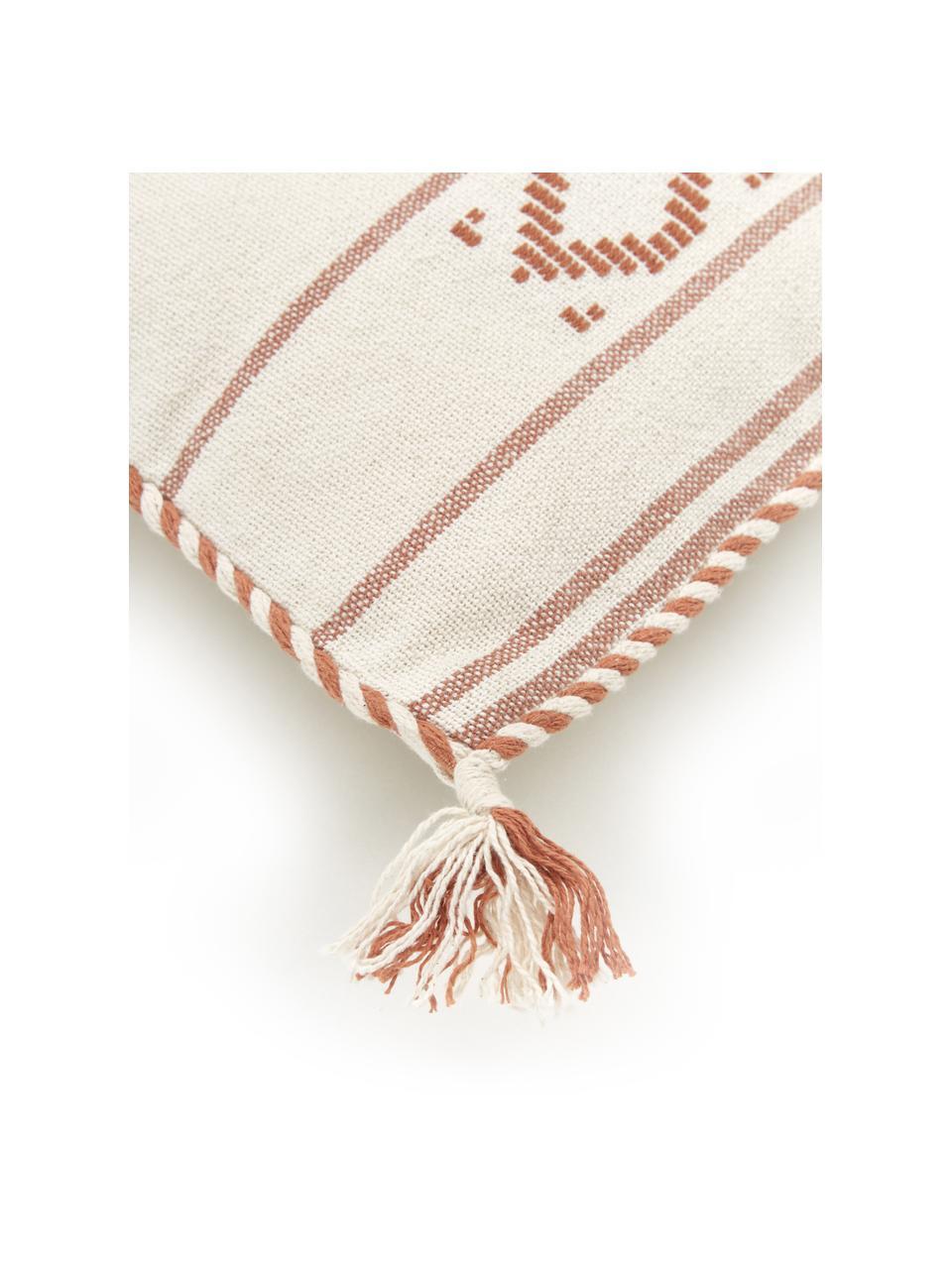 Baumwoll-Kissenhülle Okiro mit Kederumrandung und Quasten in Aprikose/Beige, 100% Baumwolle, Beige, Aprikose, 30 x 50 cm