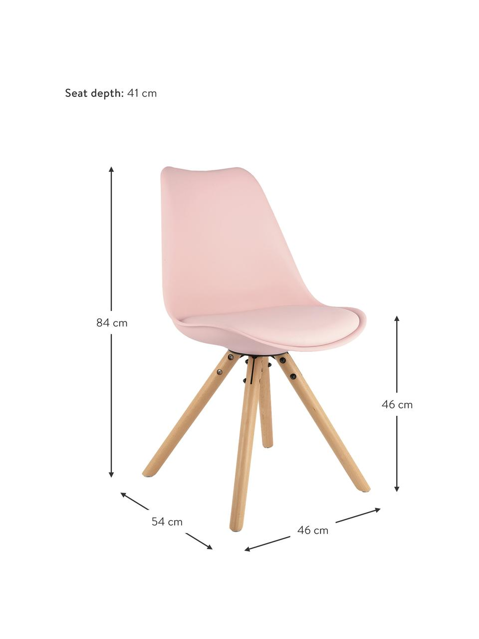 Kunststoffstühle Max in Rosa, 2 Stück, Sitzfläche: Kunstleder (Polyurethan) , Sitzschale: Kunststoff, Beine: Buchenholz, Rosa, B 46 x T 54 cm