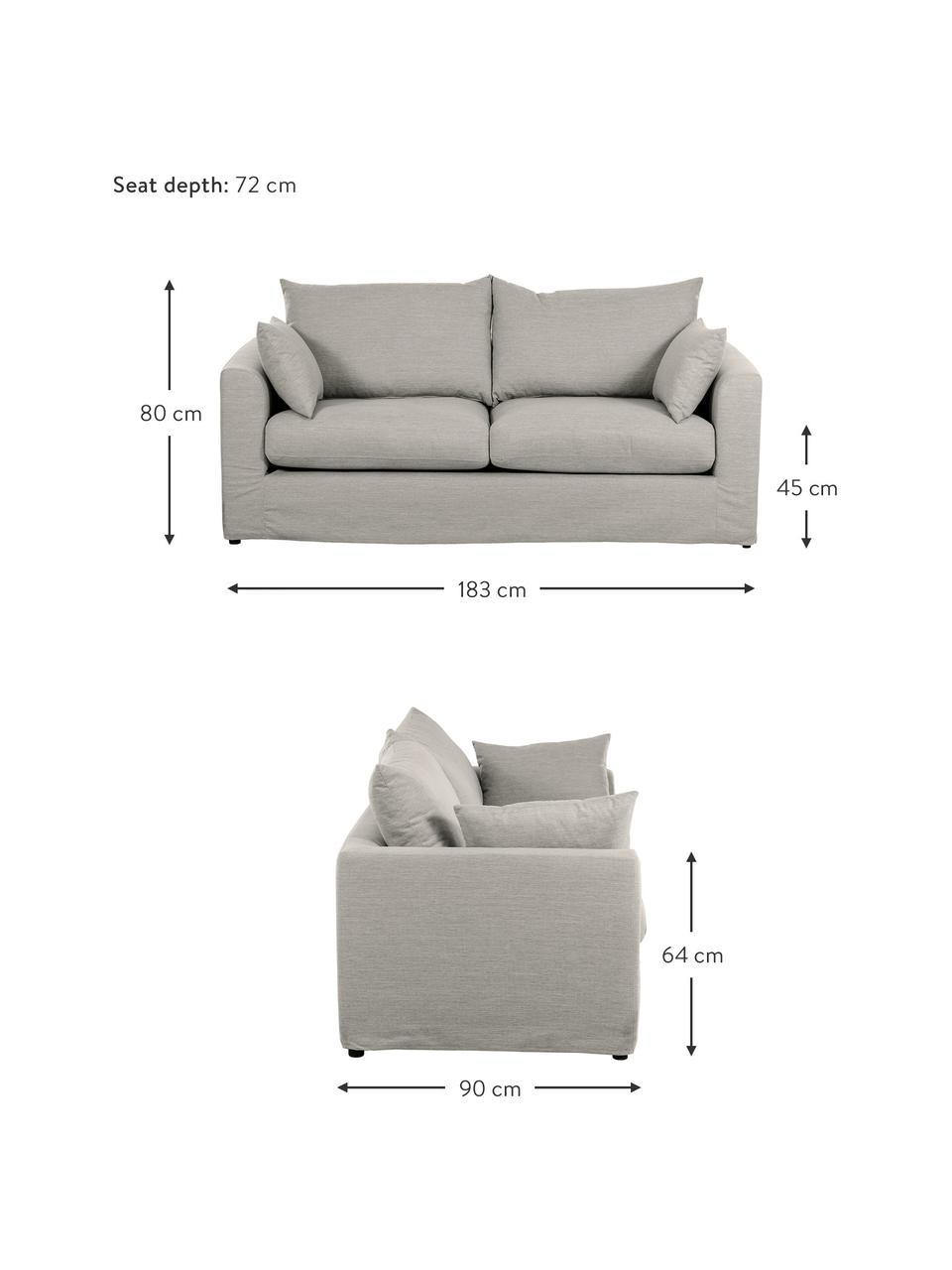 Sofa Zach (2-Sitzer) in Taupe, Bezug: Polypropylen Der hochwert, Füße: Kunststoff, Webstoff Taupe, B 183 x T 90 cm