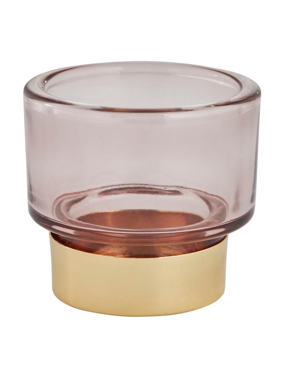 Ręcznie wykonany świecznik na podgrzewacze Miy, Szkło, Blady różowy, transparentny, odcienie złotego, Ø 8 cm