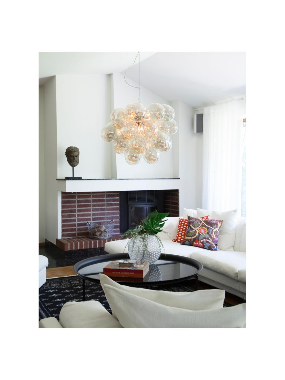 Lampada a sospensione con sfere di vetro Gross Grande, Baldacchino: nichel cromato, Ambrato, Ø 62 x Alt. 50 cm