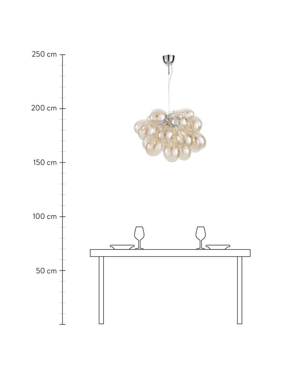 Glaskugel Pendelleuchte Gross Grande, Baldachin: Nickel, verchromt, Bernsteinfarben, Ø 62 x H 50 cm