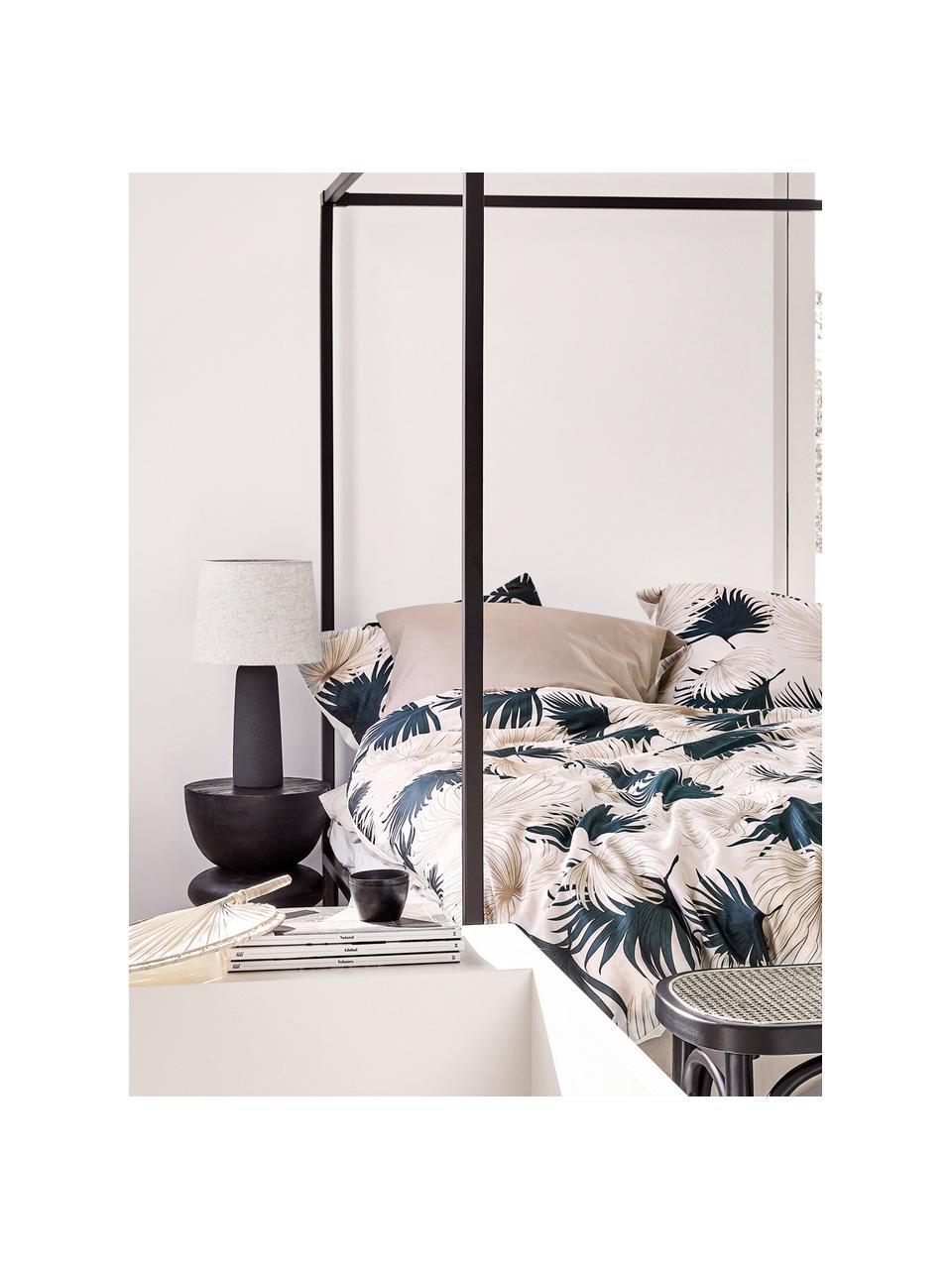 Velká stolní lampa s betonovou podstavou Kaya, Stínidlo: béžová Podstava lampy: tmavě šedá Kabel: černá