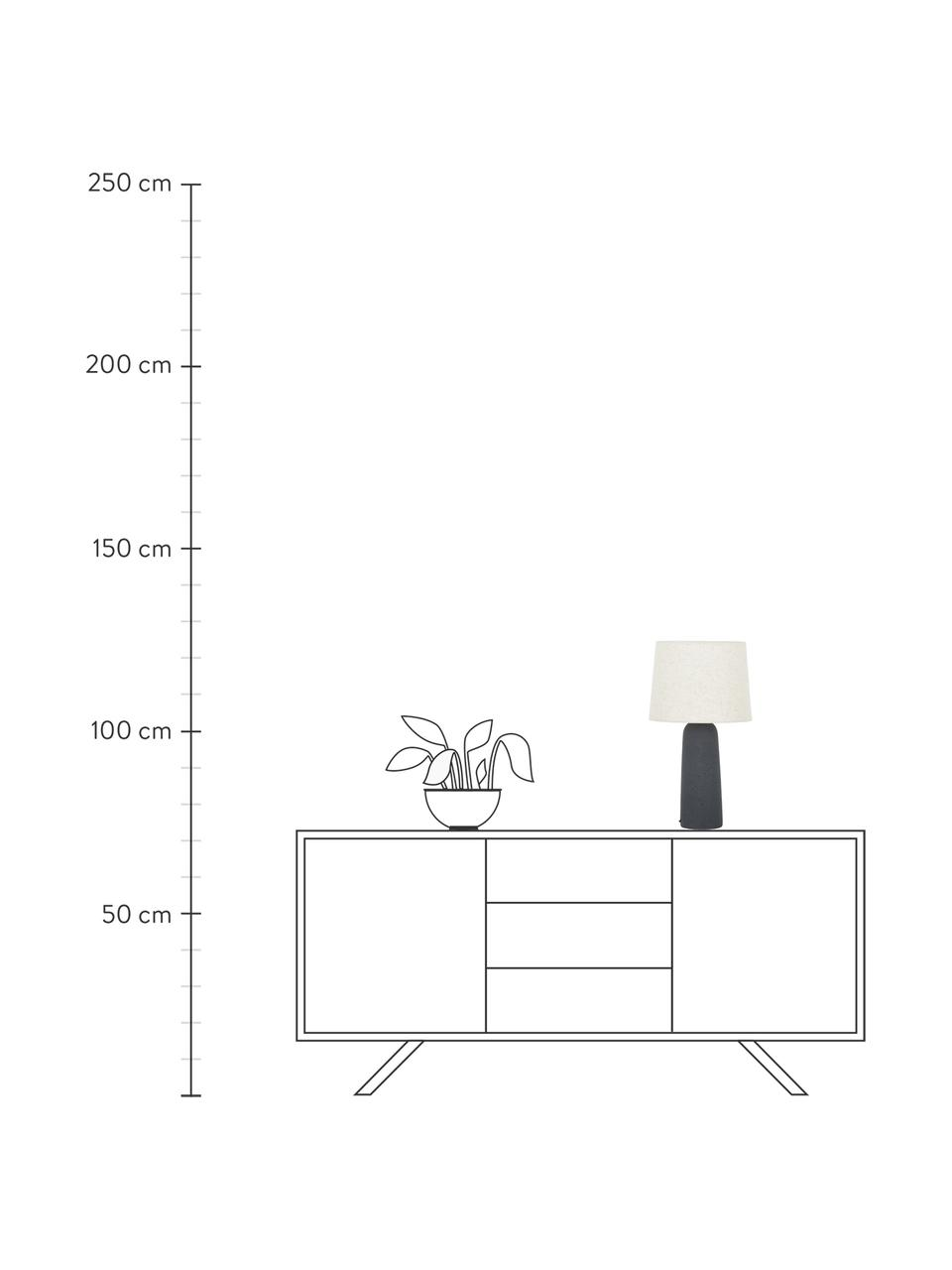 Grote tafellamp Kaya met betonnen voet, Lampenkap: 80% katoen, 20% linnen, Lampvoet: beton, Lampenkap: beige. Lampvoet: donkergrijs. Snoer: zwart, Ø 29 x H 52 cm