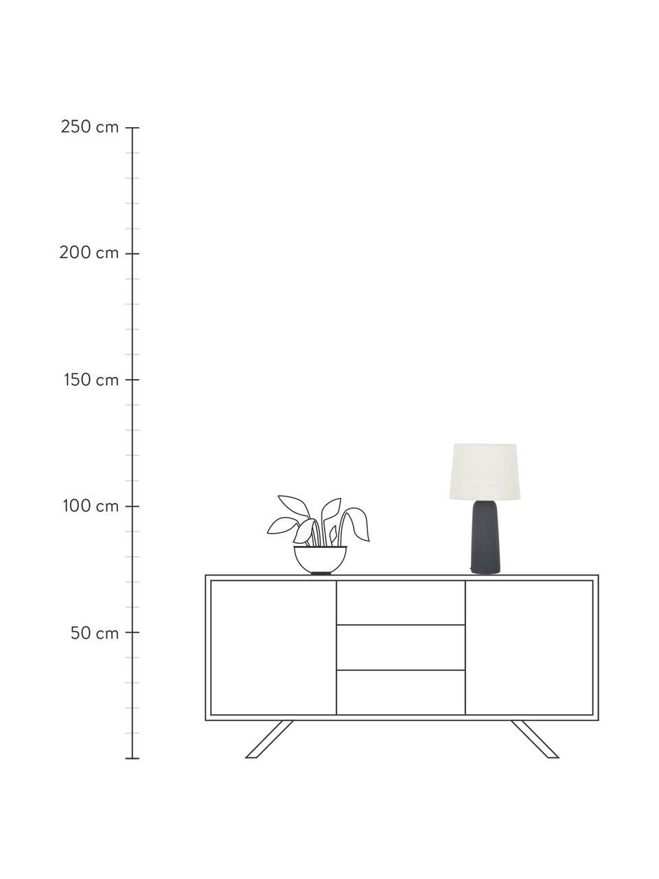 Lampada da tavolo con base in cemento Kaya, Paralume: 80% cotone, 20% lino, Base della lampada: cemento, Paralume: beige base della lampada: grigio scuro cavo: nero, Ø 29 x Alt. 52 cm