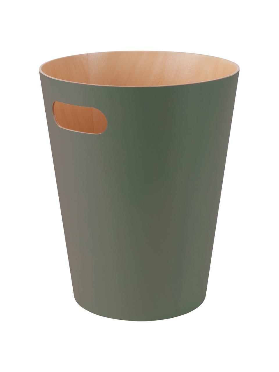XS Papierkorb Woodrow Can, Holz, lackiert, Olivgrün, Ø 23 x H 28 cm