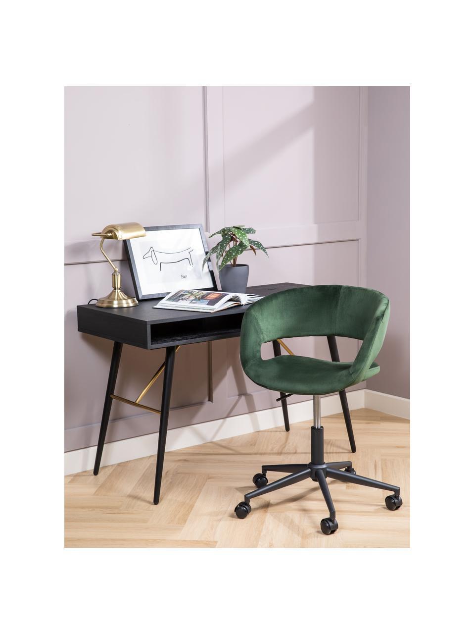 Krzesło obrotowe z aksamitu Grace, Tapicerka: aksamit poliestrowy 2500, Stelaż: metal malowany proszkowo, Aksamitny leśny zielony, S 56 x G 54 cm