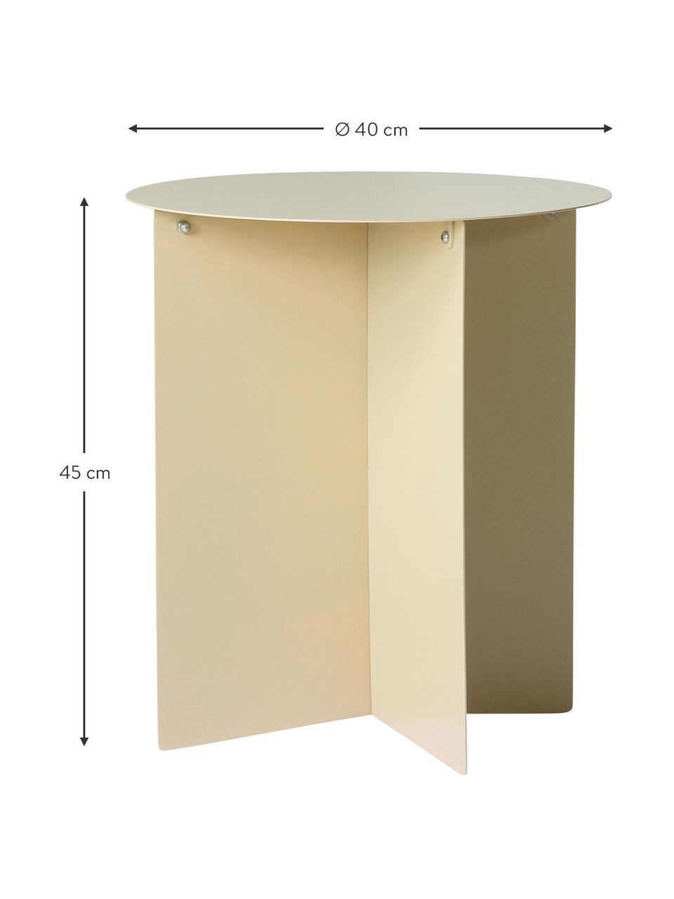 Tavolino da salotto color crema Dinga, Metallo verniciato a polvere, Color crema, Ø 40 x Alt. 45 cm