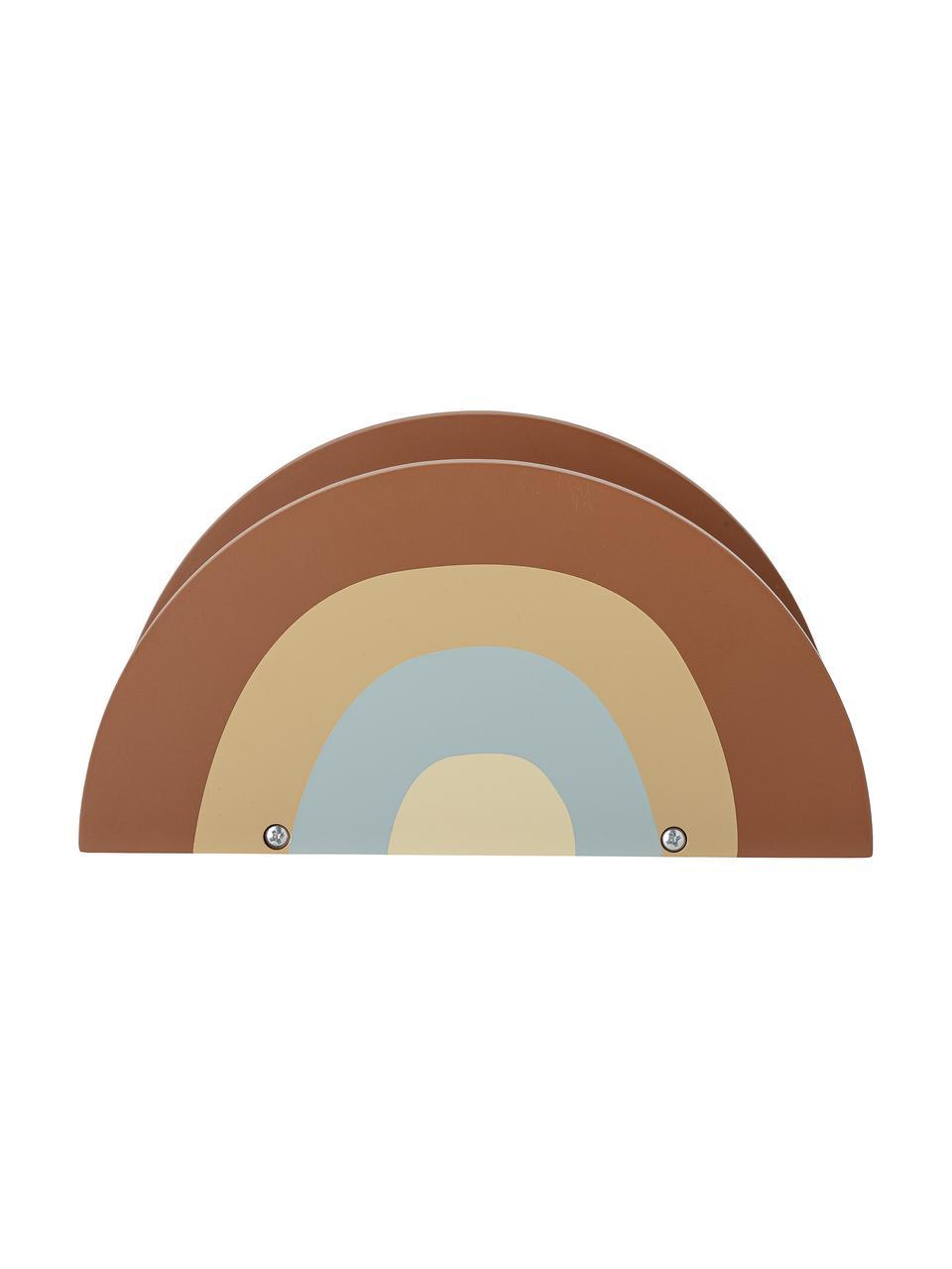 Bücher-Regal Dave, Mitteldichte Holzfaserplatte (MDF), Braun, Gellb, Blau, 24 x 12 cm