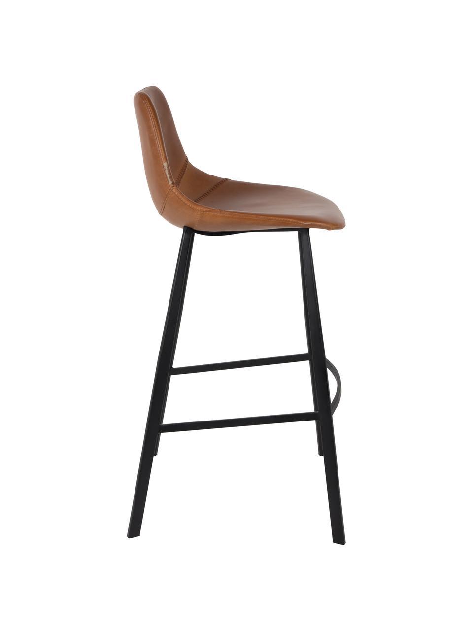 Barová židle z umělé kůže Franky, Nohy: černá Potah: hnědá