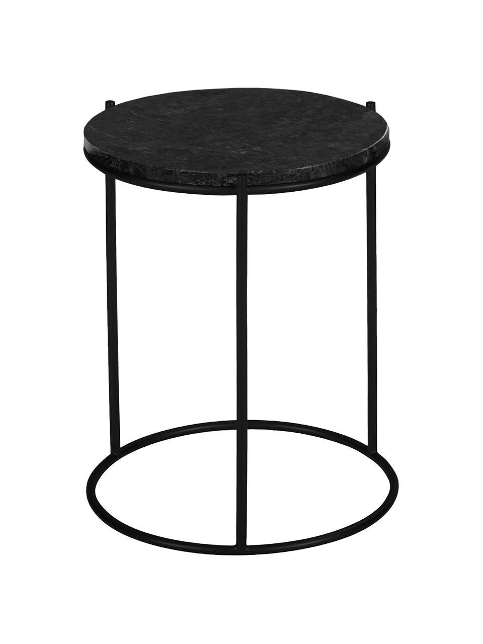 Table d'appoint ronde en marbre Ella, Plateau: marbre noir Structure: noir, mat