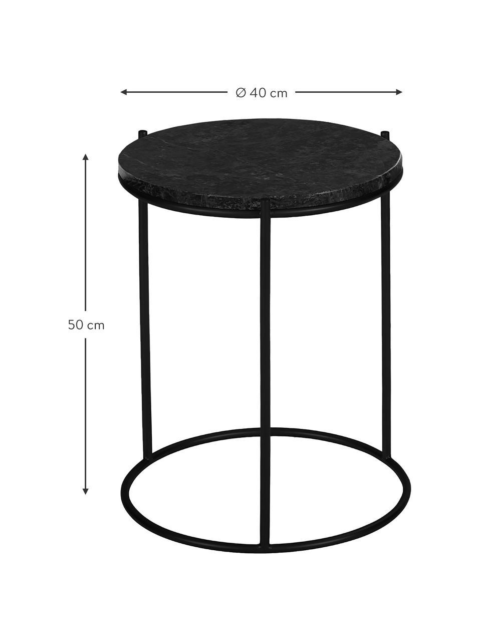 Runder Marmor-Beistelltisch Ella, Tischplatte: Marmor, Gestell: Metall, pulverbeschichtet, Schwarzer Marmor, Schwarz, Ø 40 x H 50 cm