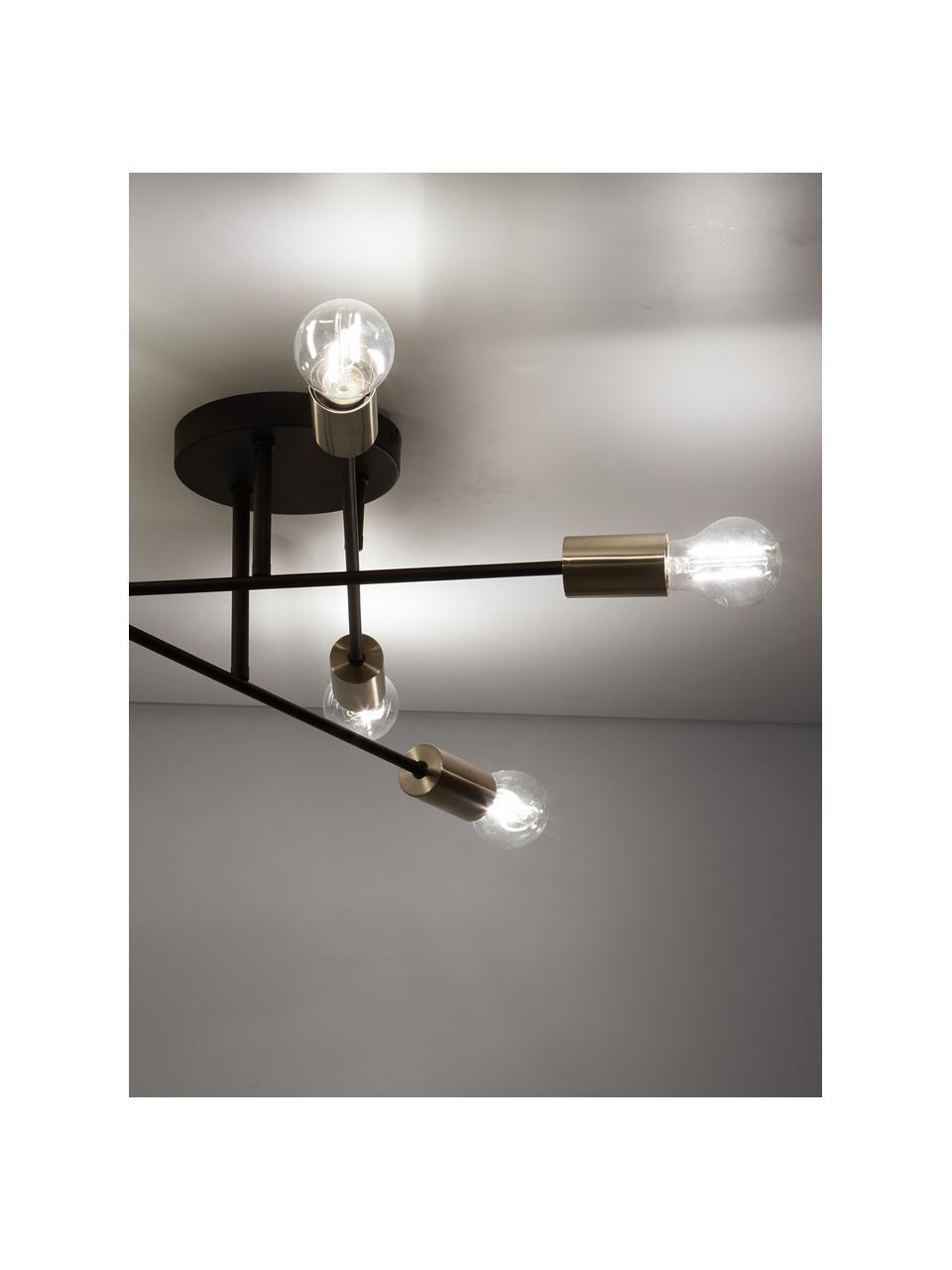 Plafondlamp Visby in zwart-goudkleur, Baldakijn: gepoedercoat metaal, Zwart, Ø 55 x H 20 cm