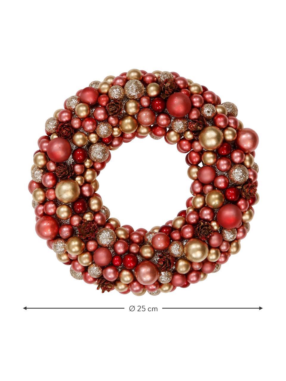 Ghirlanda di Natale Festivity, Materiale sintetico, polistirolo, Rosso, dorato, Ø 33 x Alt. 7 cm