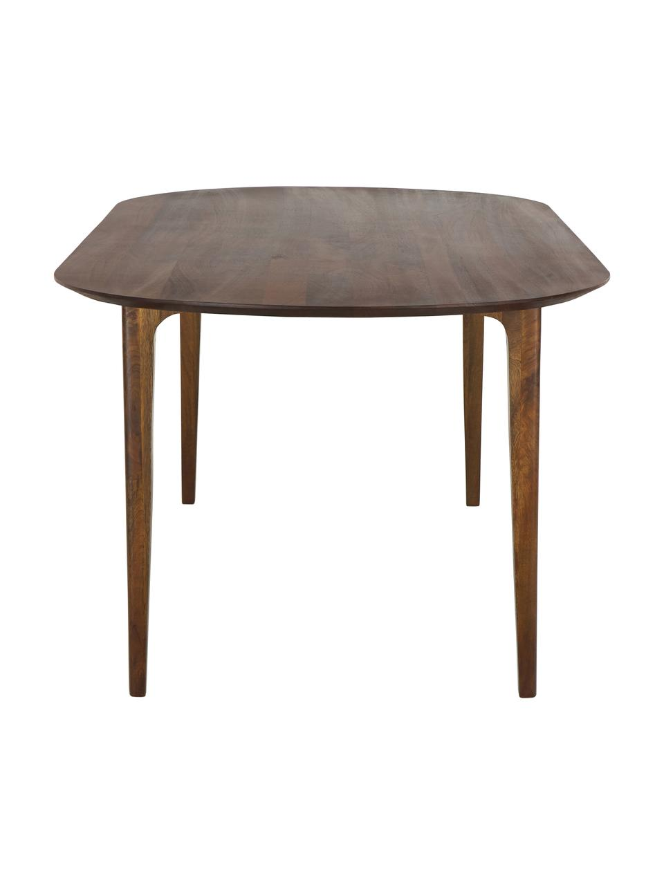 Ovale massief houten eettafel Archie, Gelakt massief mangohout, Mangohout, donker gelakt, B 200 x D 100 cm