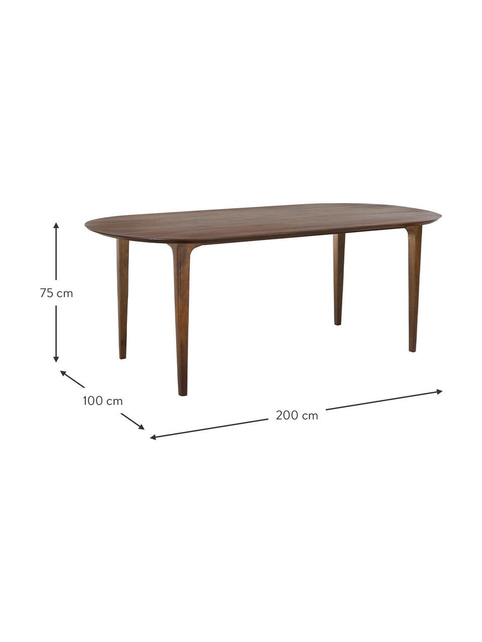 Ovaler Esstisch Archie mit Mangoholz, 200 x 100 cm, Massives Mangoholz, lackiert, Mangoholz, dunkel lackiert, B 200 x T 100 cm