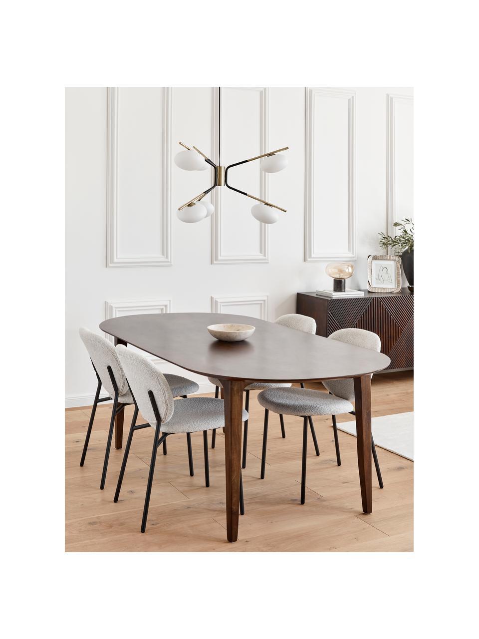 Owalny stół do jadalni z drewna mangowego Archie, Lite drewno mangowe, lakierowane, Drewno mangowe, ciemny lakierowany, S 200 x G 100 cm