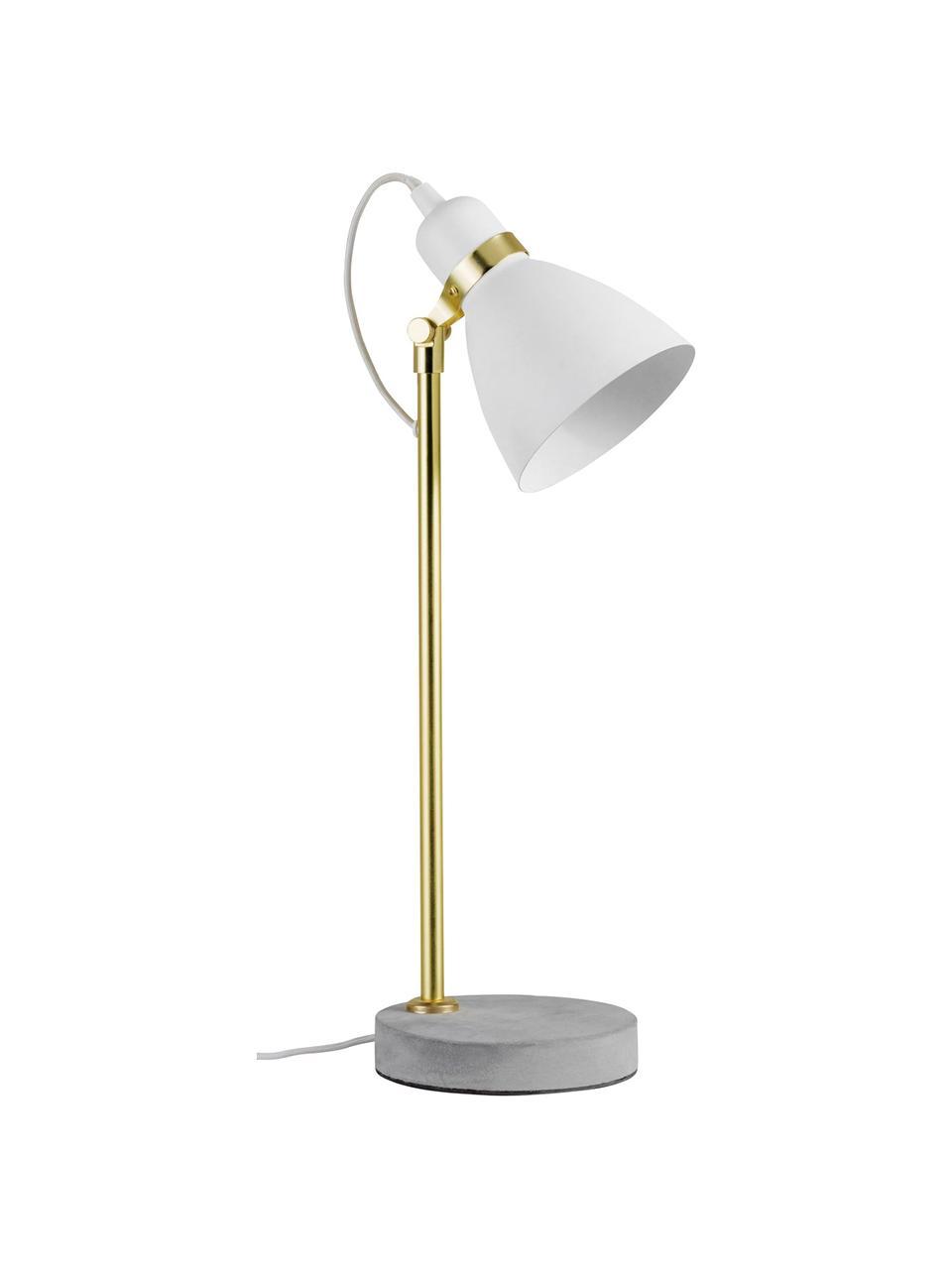 Große Schreibtischlampe Orm mit Betonfuß, Lampenschirm: Metall, beschichtet, Lampenfuß: Beton, Weiß, Messingfarben, Grau, Ø 15 x H 50 cm