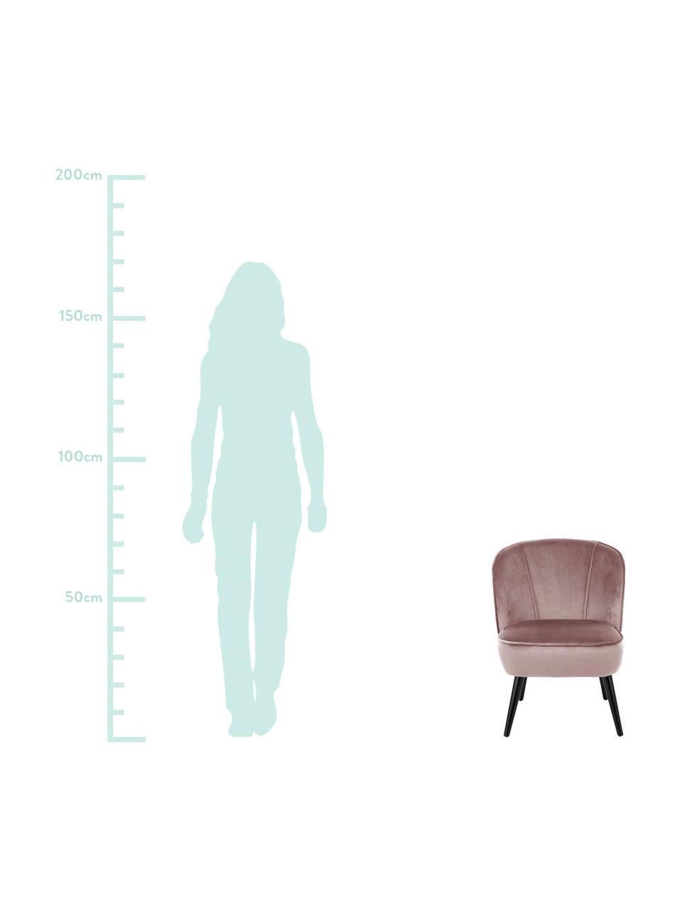 Samt-Cocktailsessel Lucky in Altrosa, Bezug: Samt (Polyester) Der hoch, Füße: Kautschukholz, lackiert, Samt Altrosa, B 59 x T 68 cm