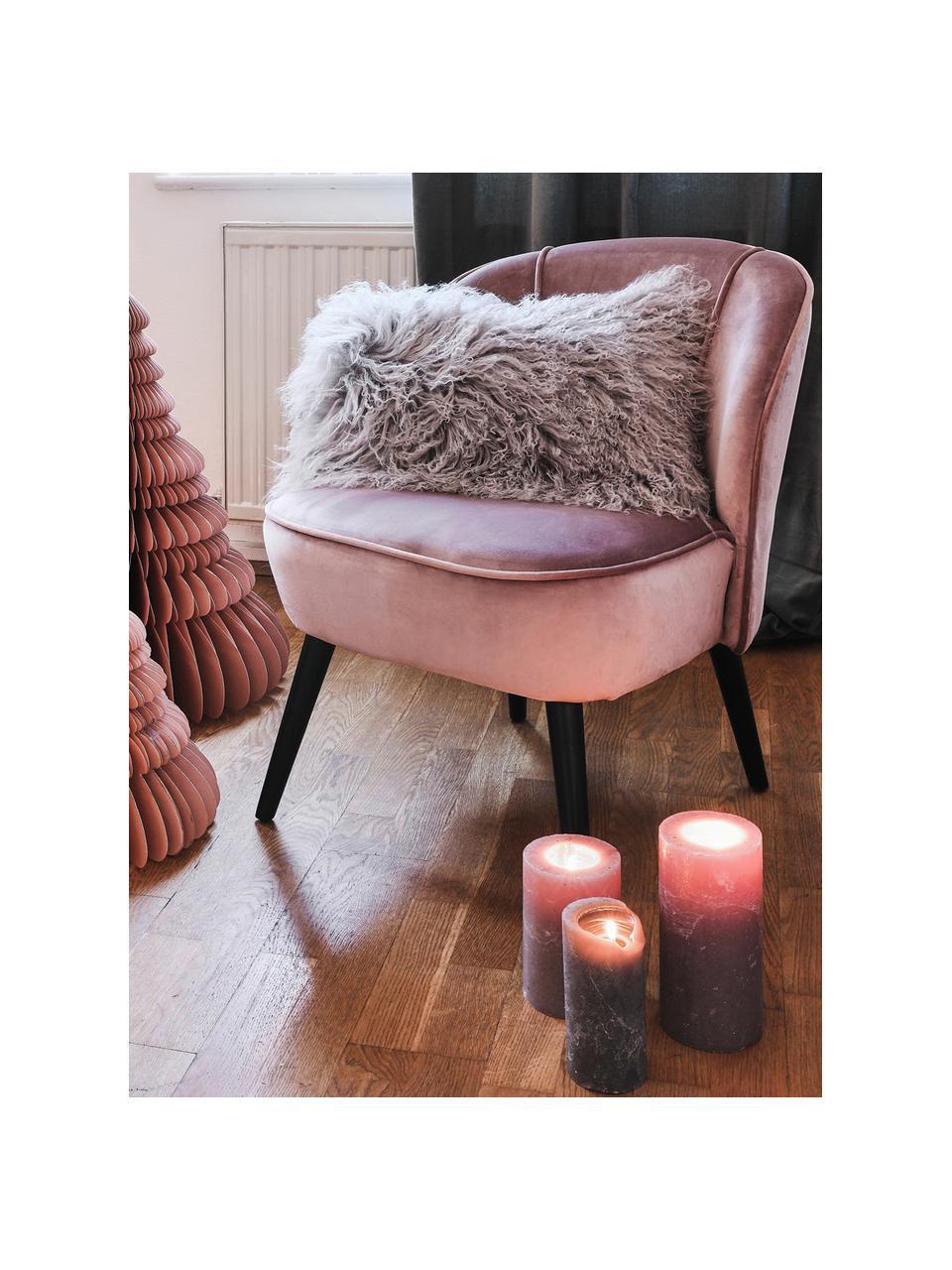 Poltrona in velluto rosa cipria Lucky, Rivestimento: velluto (poliestere) 30.0, Piedini: legno di caucciù vernicia, Velluto rosa cipria, Larg. 59 x Prof. 68 cm