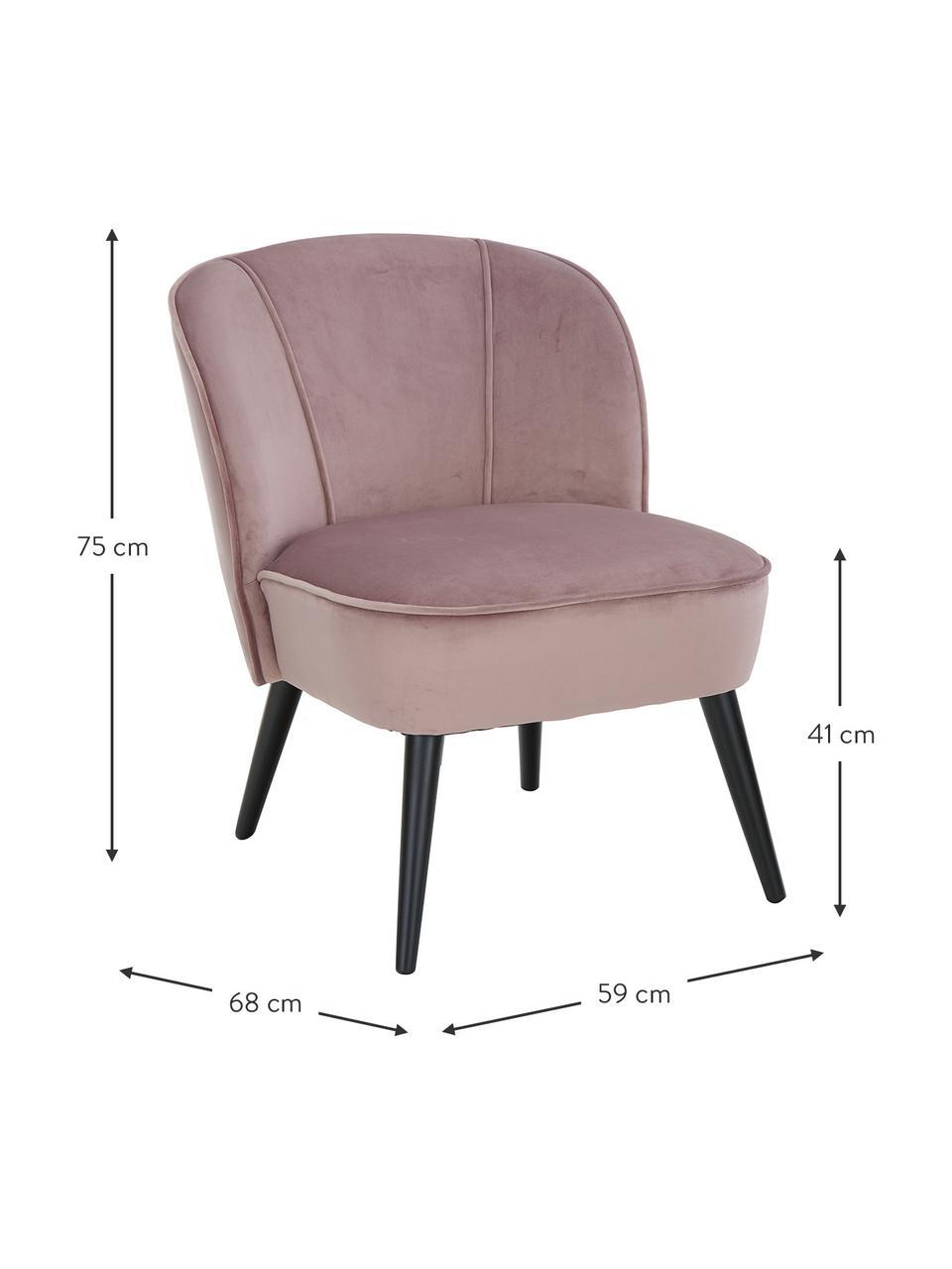 Fluwelen stoel Lucky, Bekleding: fluweel (polyester), Poten: rubberhout, gelakt, Bekleding: oudroze. Poten: zwart, B 59 x D 68 cm