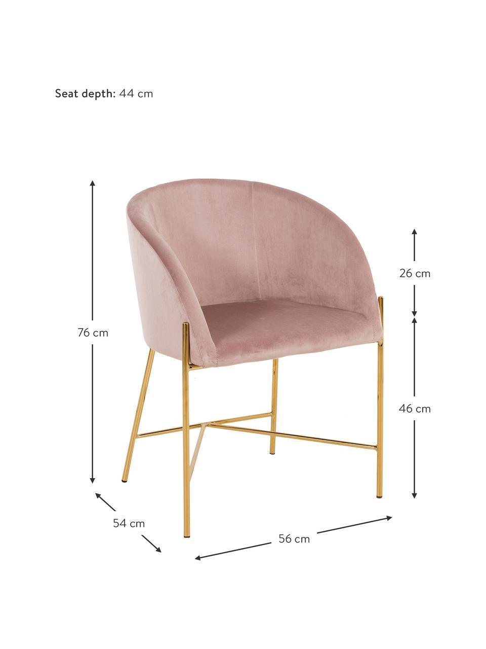 Krzesło tapicerowane z aksamitu Nelson, Tapicerka: aksamit poliestrowy Dzięk, Nogi: metal mosiądzowany, Brudny różowy, S 56 x G 55 cm